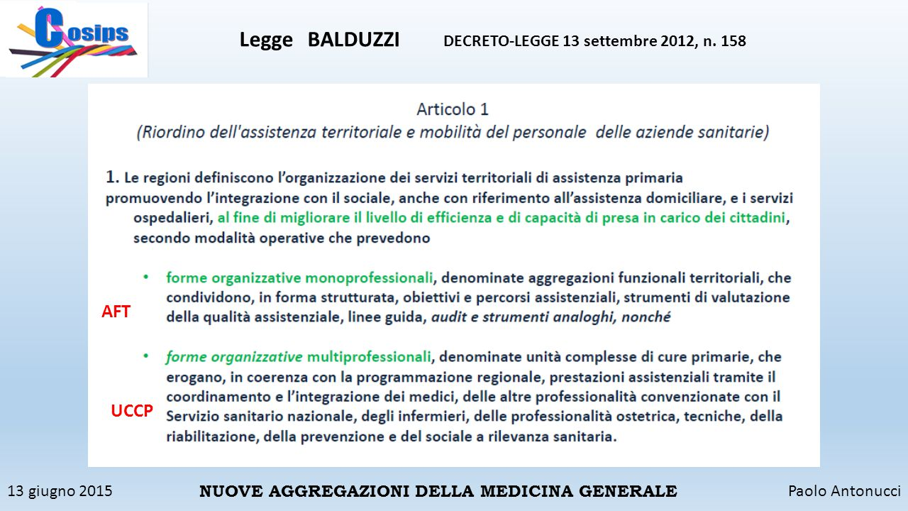 Legge BALDUZZI DECRETO-LEGGE 13 settembre 2012, n. 158