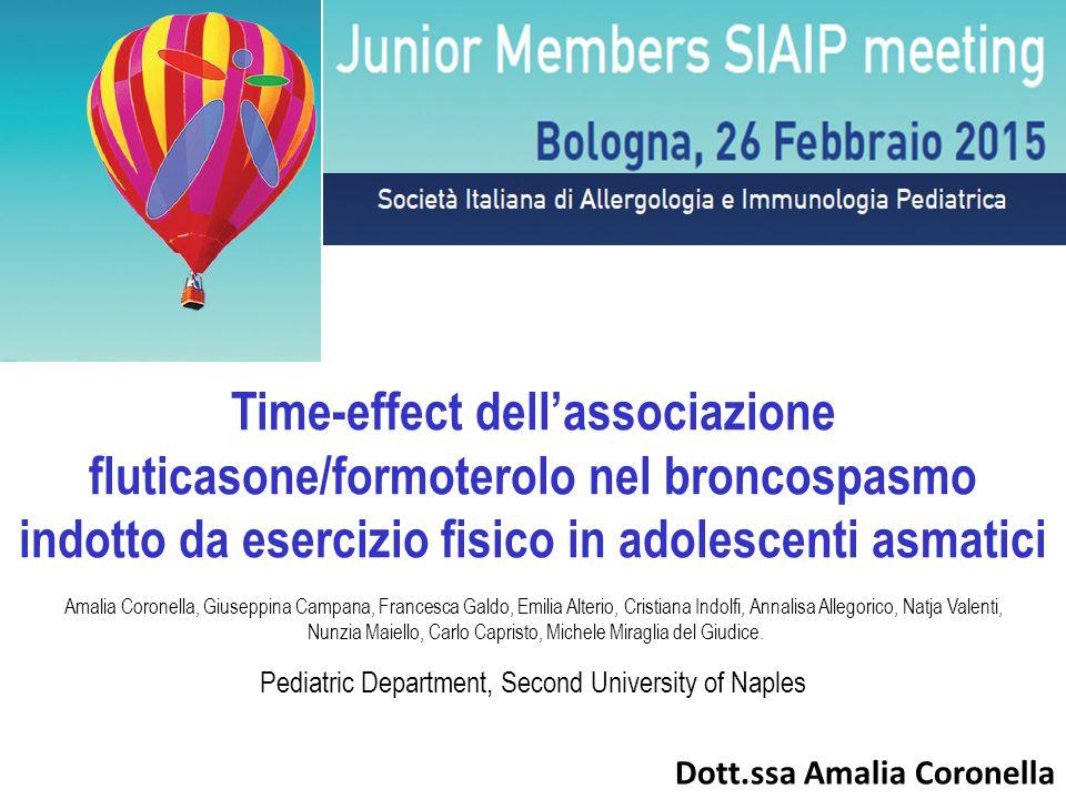 Time-effect dell'associazione fluticasone/formoterolo nel broncospasmo indotto da esercizio fisico in adolescenti asmatici
