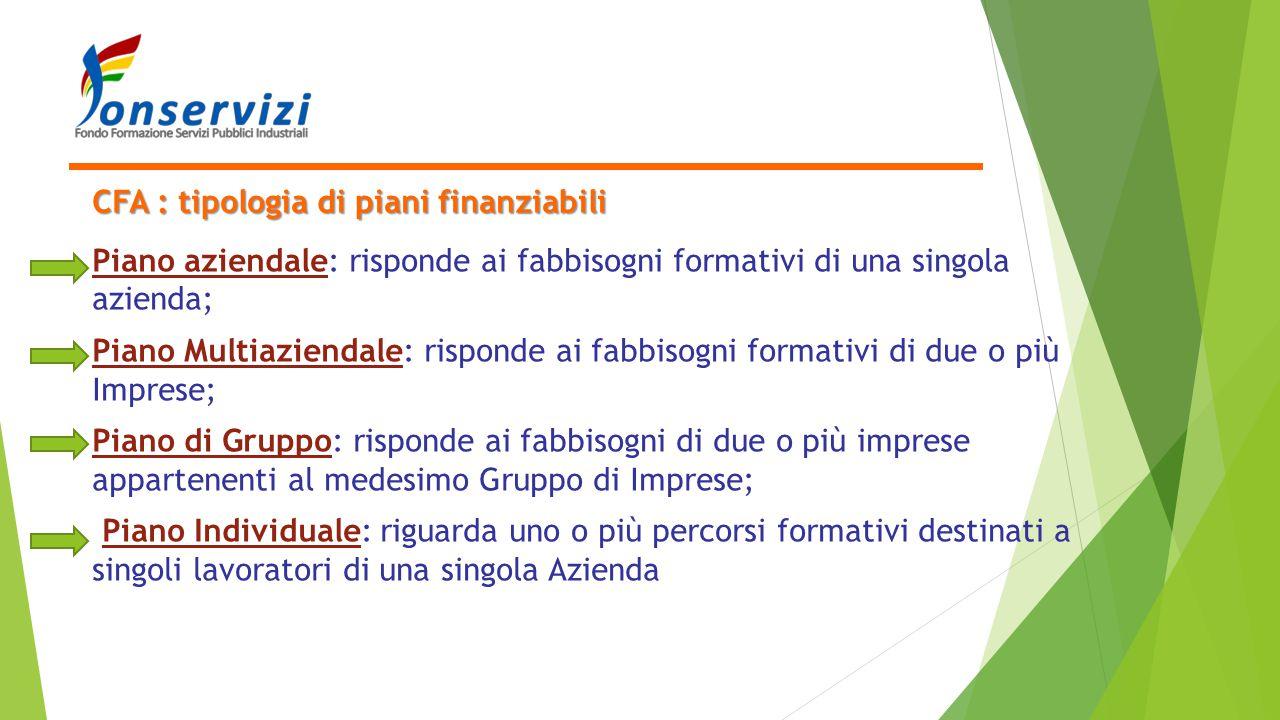 CFA : tipologia di piani finanziabili