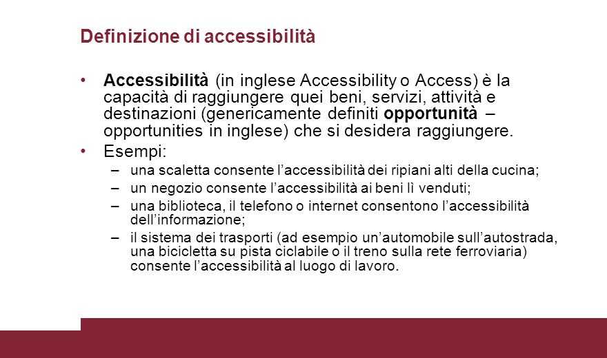 Definizione di accessibilità