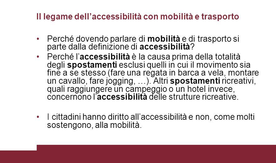Il legame dell'accessibilità con mobilità e trasporto