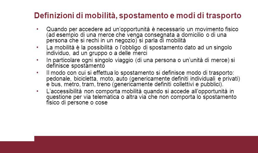 Definizioni di mobilità, spostamento e modi di trasporto
