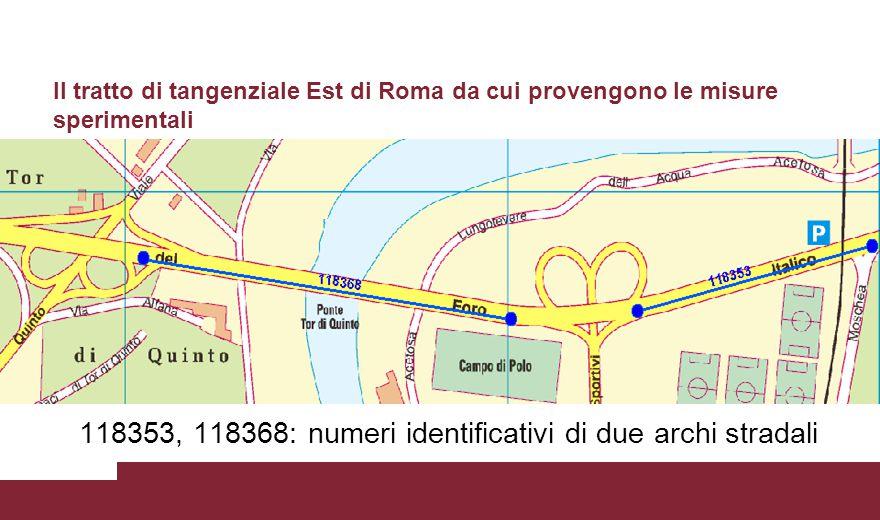 118353, 118368: numeri identificativi di due archi stradali