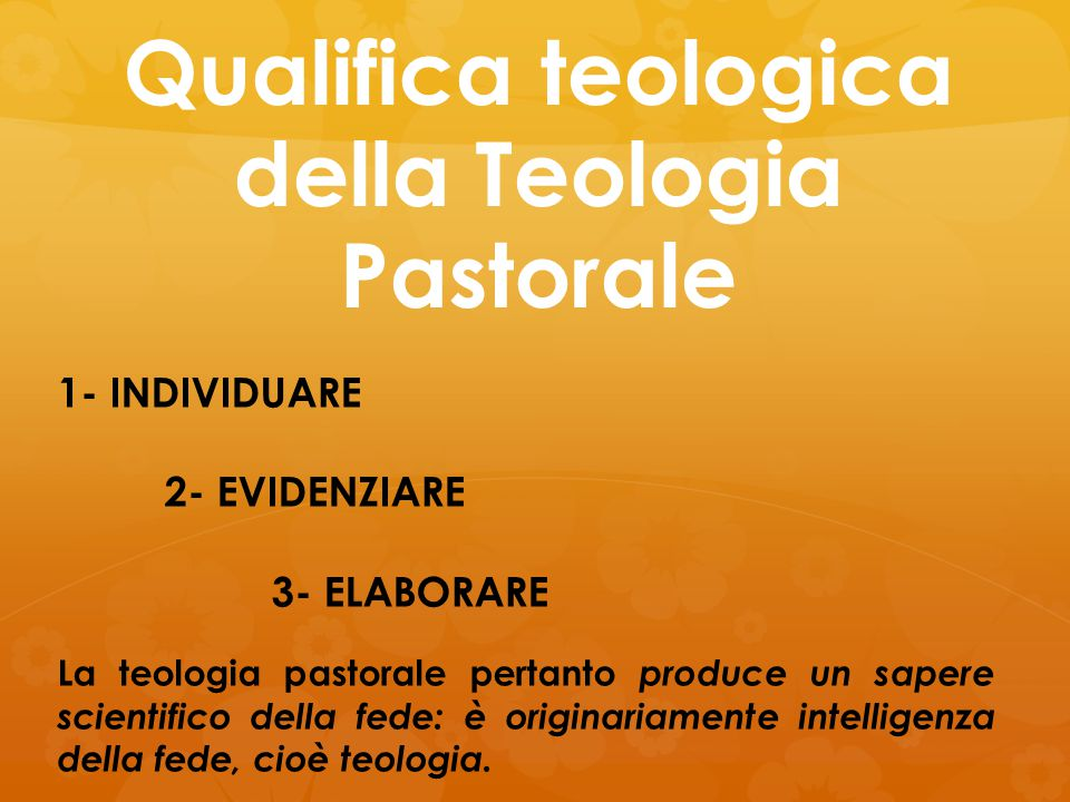 Qualifica teologica della Teologia Pastorale