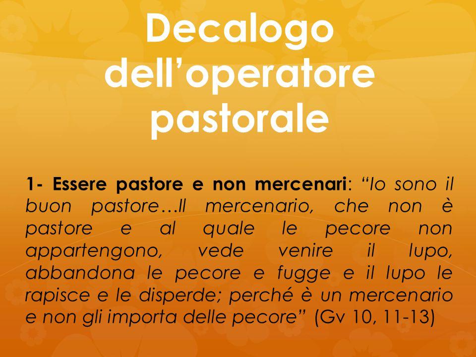 Decalogo dell'operatore pastorale