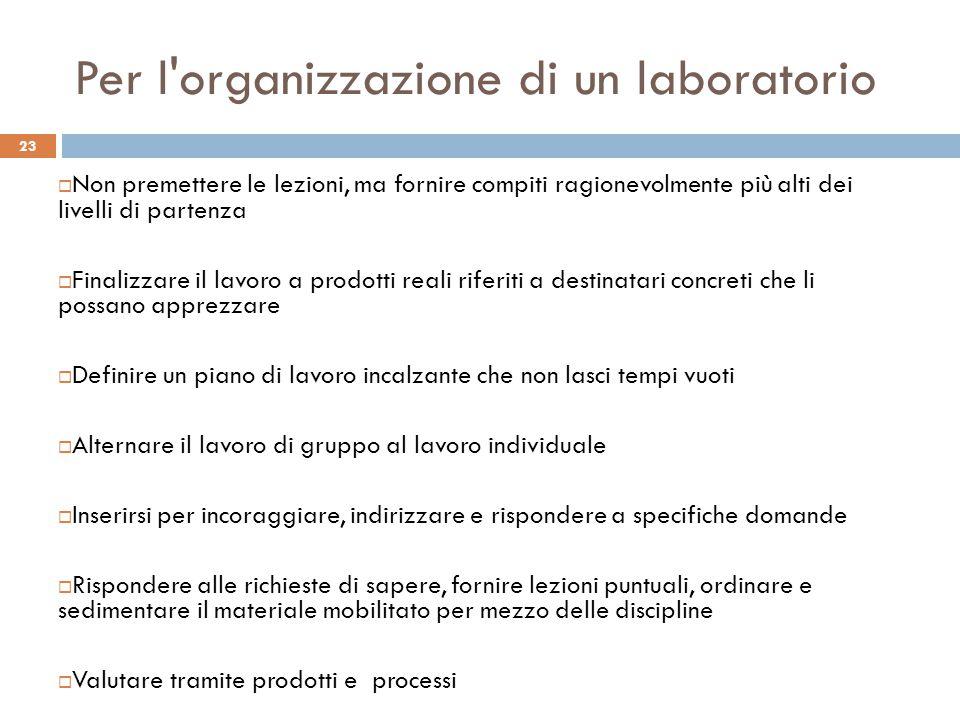 Per l organizzazione di un laboratorio