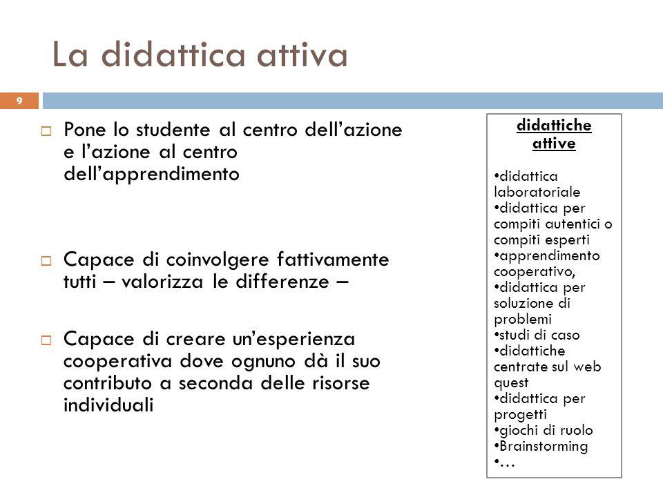 La didattica attiva Pone lo studente al centro dell'azione e l'azione al centro dell'apprendimento.