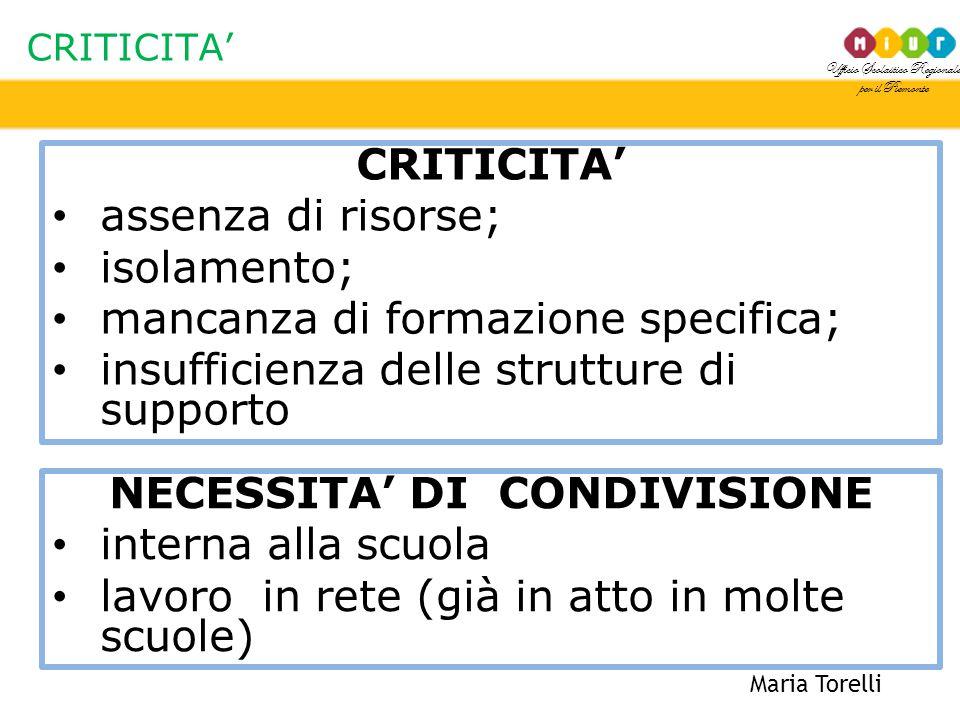 NECESSITA' DI CONDIVISIONE