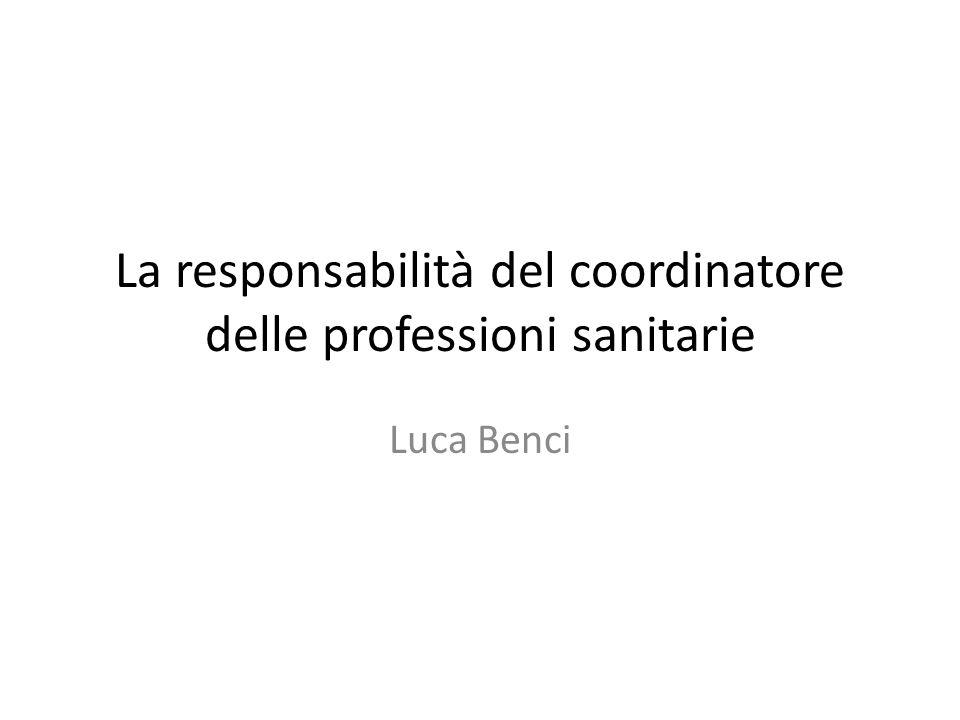 La responsabilità del coordinatore delle professioni sanitarie
