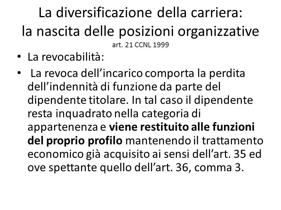 La diversificazione della carriera: la nascita delle posizioni organizzative art. 21 CCNL 1999