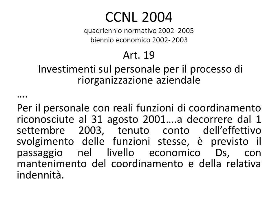 CCNL 2004 quadriennio normativo 2002- 2005 biennio economico 2002- 2003