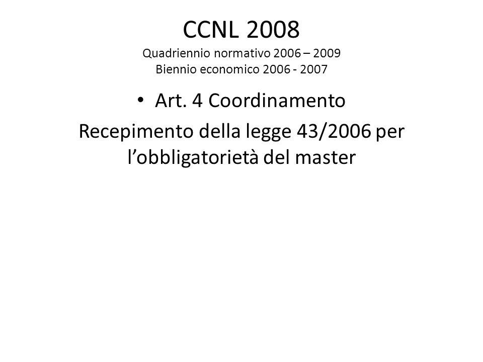 Recepimento della legge 43/2006 per l'obbligatorietà del master