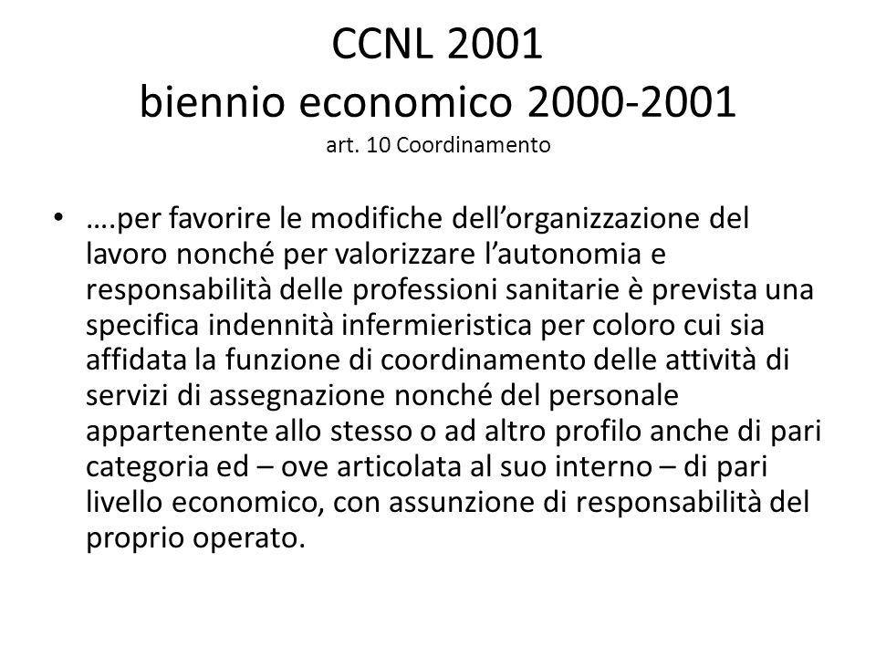 CCNL 2001 biennio economico 2000-2001 art. 10 Coordinamento