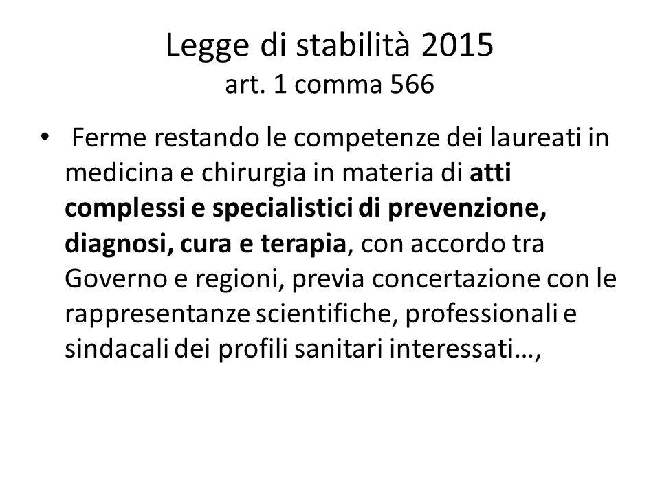 Legge di stabilità 2015 art. 1 comma 566