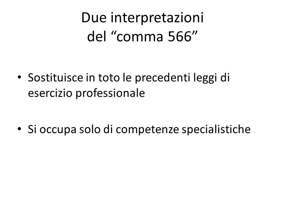 Due interpretazioni del comma 566