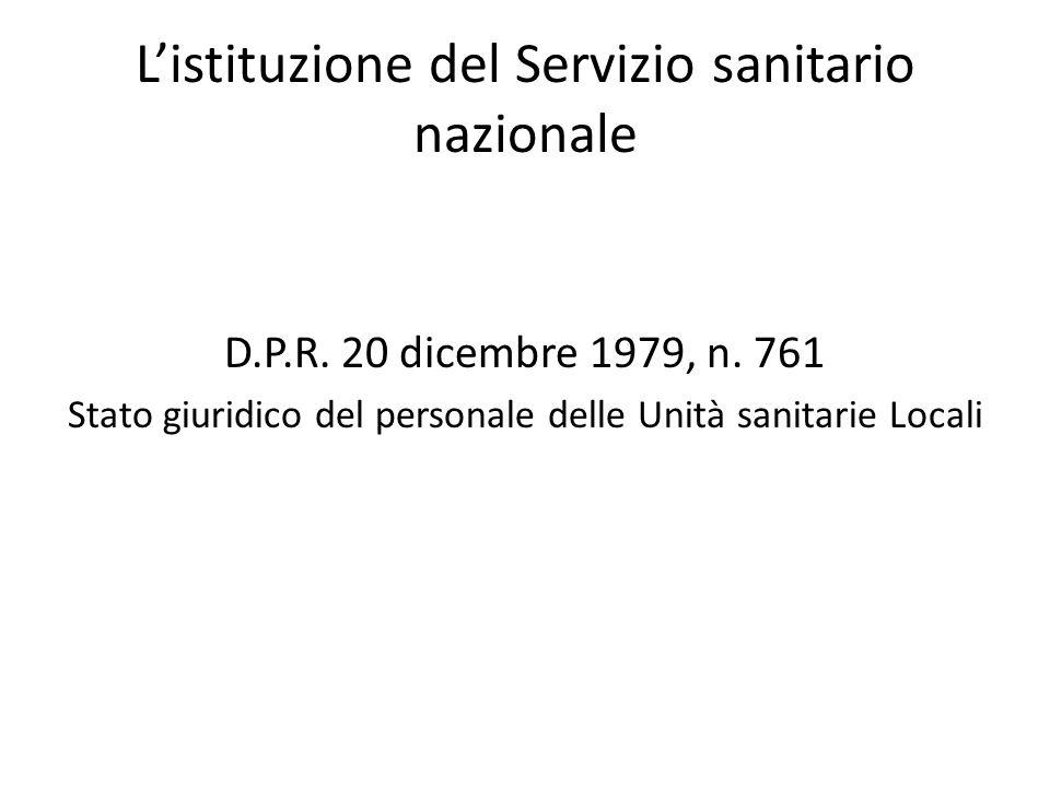 L'istituzione del Servizio sanitario nazionale