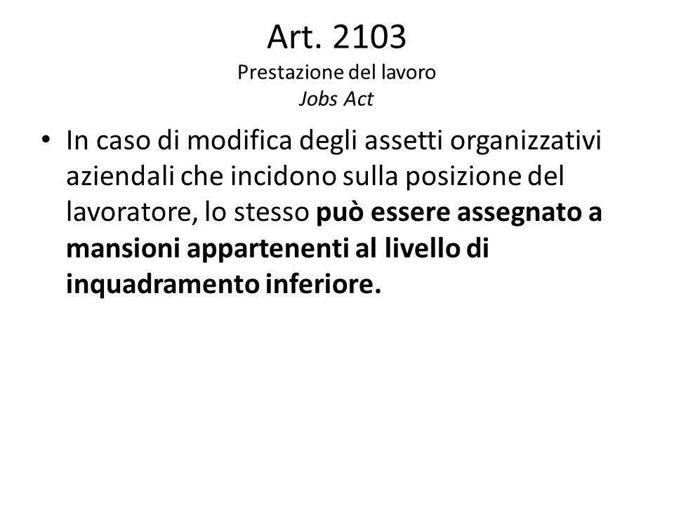 Art. 2103 Prestazione del lavoro Jobs Act