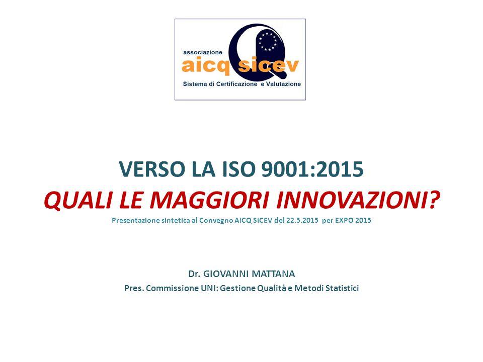Pres. Commissione UNI: Gestione Qualità e Metodi Statistici