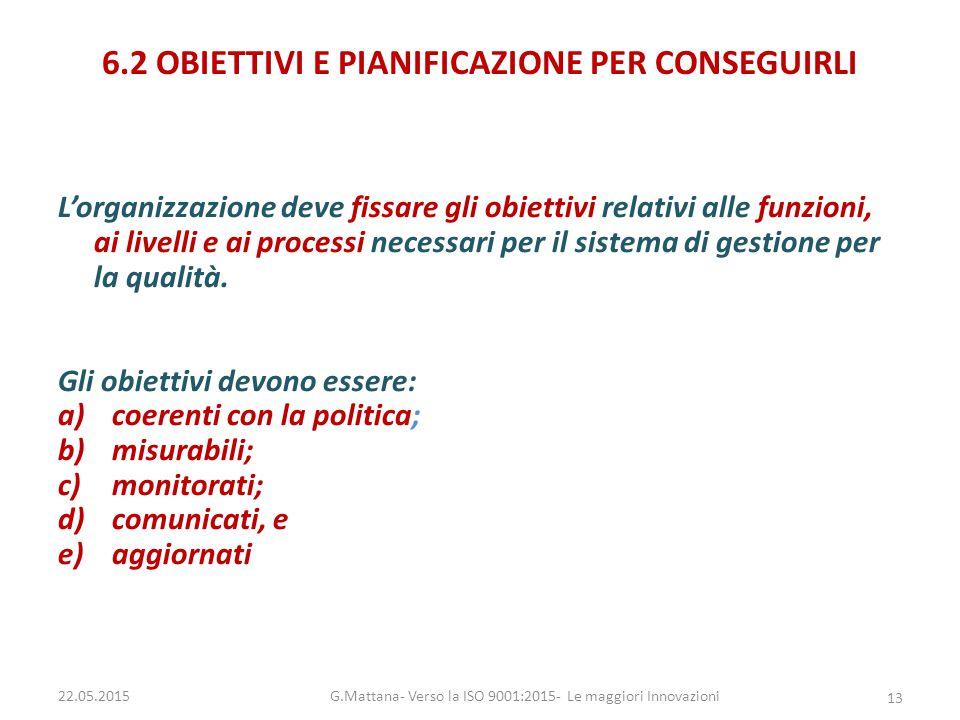 6.2 OBIETTIVI E PIANIFICAZIONE PER CONSEGUIRLI