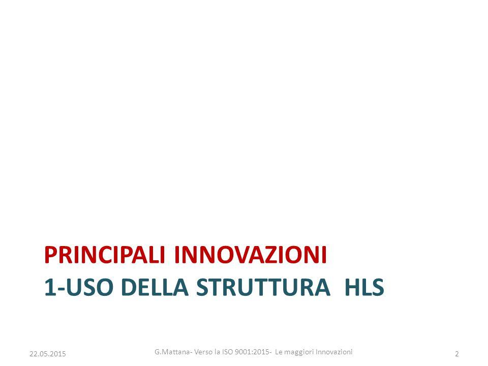 Principali innovazioni 1-uso della Struttura HLS