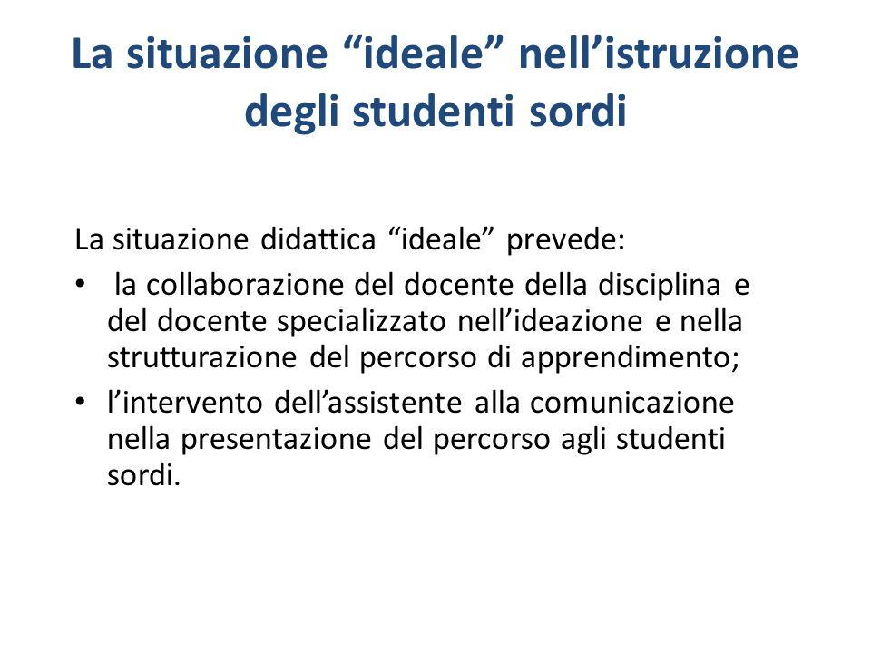 La situazione ideale nell'istruzione degli studenti sordi