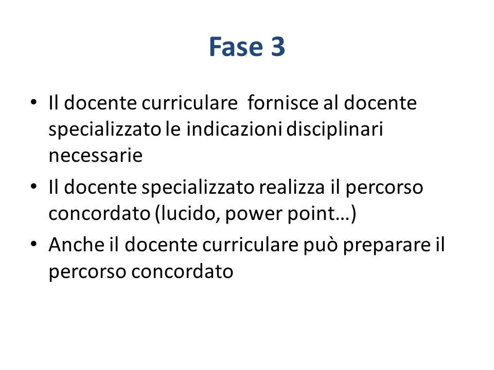 Fase 3 Il docente curriculare fornisce al docente specializzato le indicazioni disciplinari necessarie.