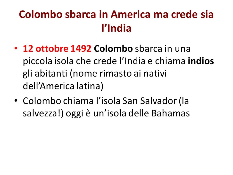 Colombo sbarca in America ma crede sia l'India
