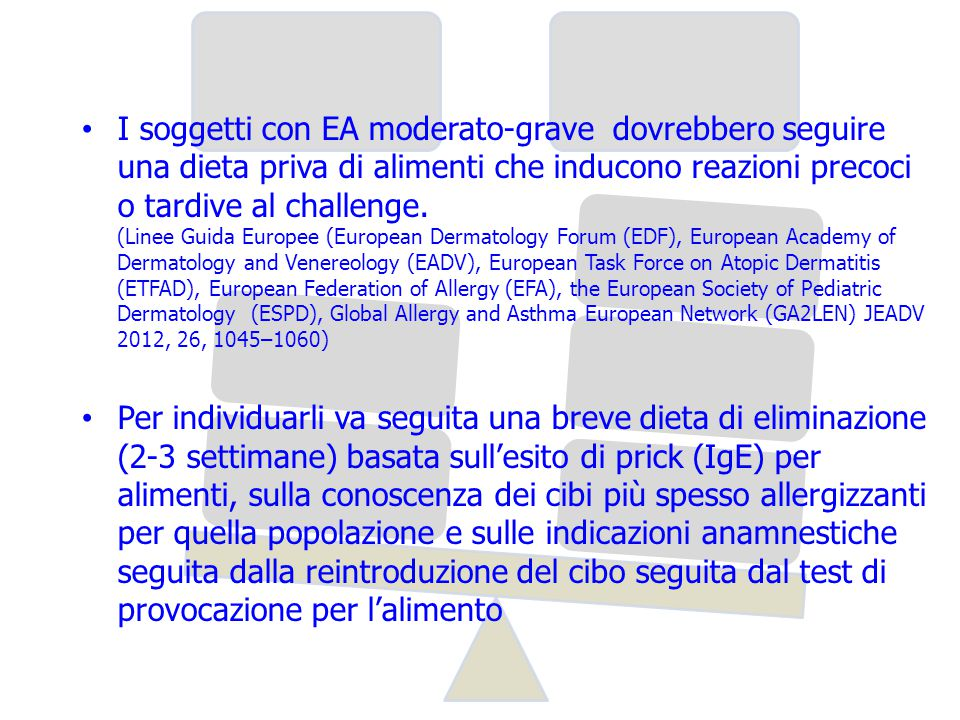 I soggetti con EA moderato-grave dovrebbero seguire una dieta priva di alimenti che inducono reazioni precoci o tardive al challenge. (Linee Guida Europee (European Dermatology Forum (EDF), European Academy of Dermatology and Venereology (EADV), European Task Force on Atopic Dermatitis (ETFAD), European Federation of Allergy (EFA), the European Society of Pediatric Dermatology (ESPD), Global Allergy and Asthma European Network (GA2LEN) JEADV 2012, 26, 1045–1060)