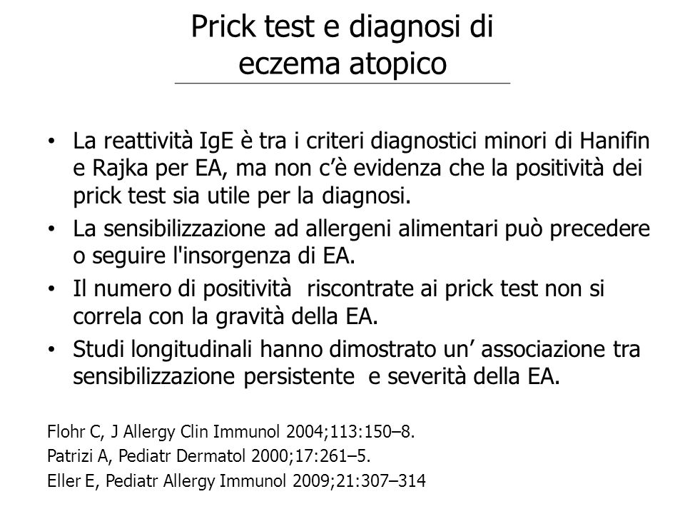 Prick test e diagnosi di eczema atopico