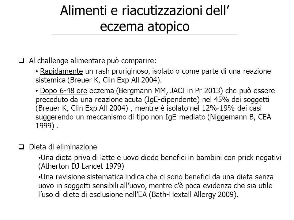 Alimenti e riacutizzazioni dell' eczema atopico