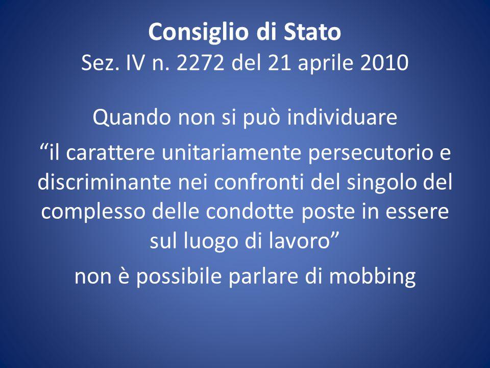 Consiglio di Stato Sez. IV n. 2272 del 21 aprile 2010