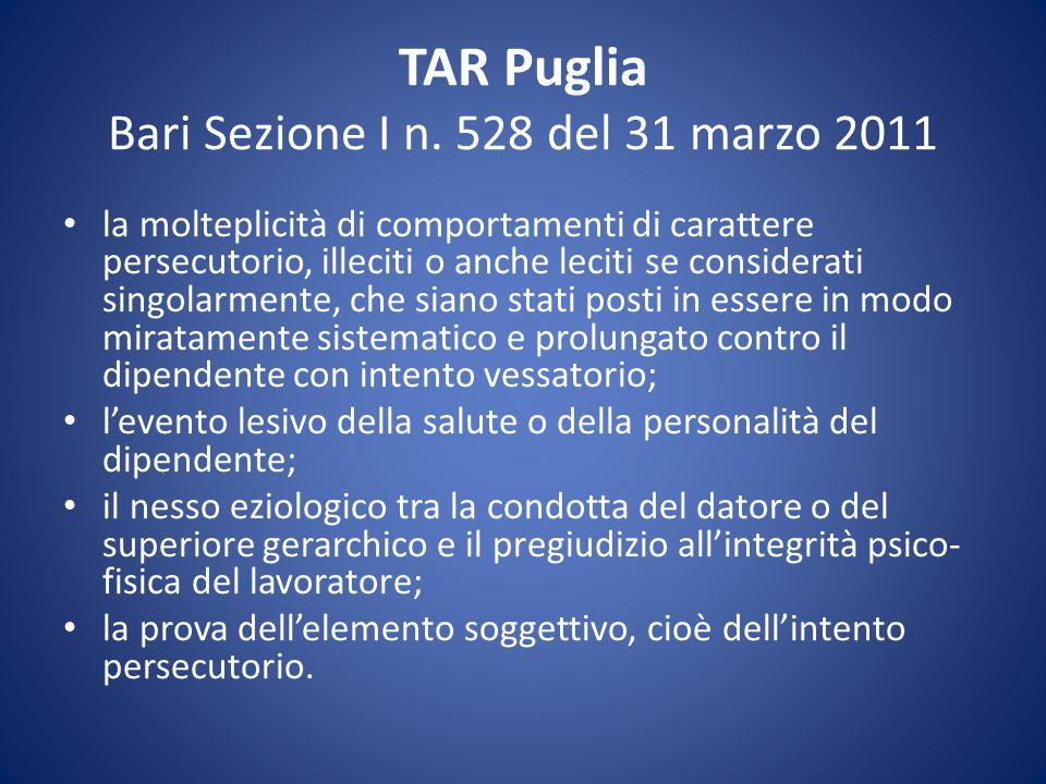 TAR Puglia Bari Sezione I n. 528 del 31 marzo 2011