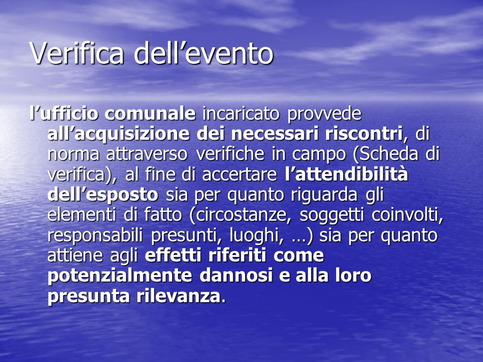 Verifica dell'evento