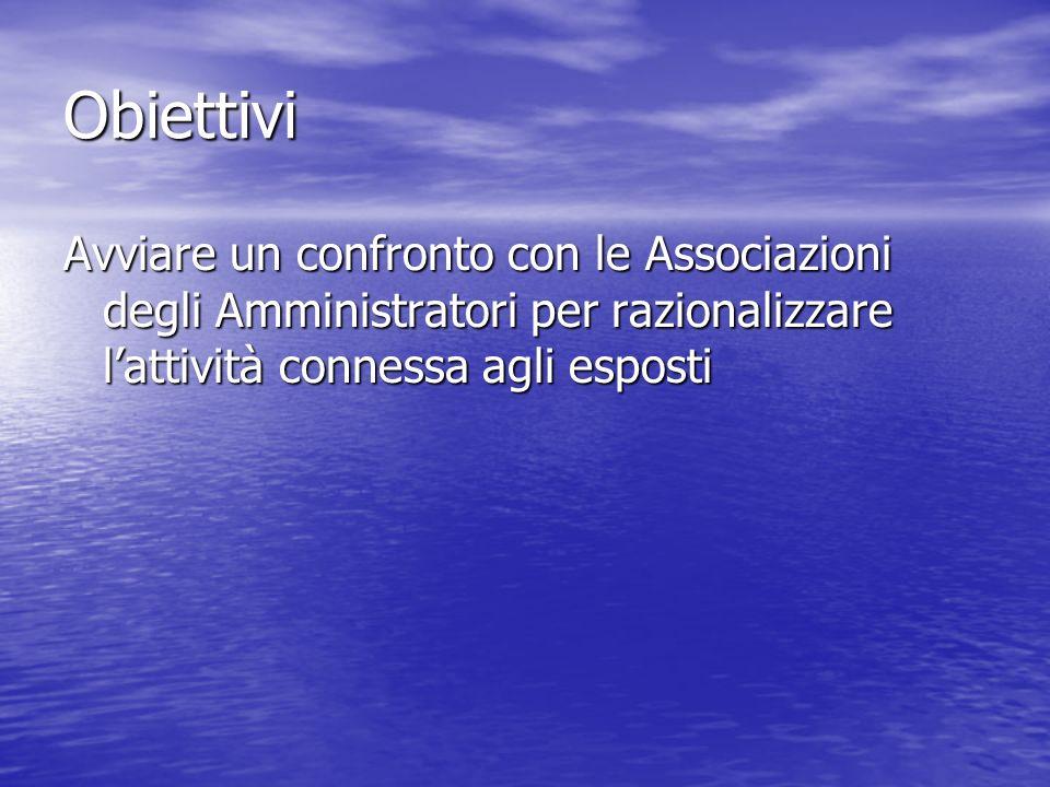 ObiettiviAvviare un confronto con le Associazioni degli Amministratori per razionalizzare l'attività connessa agli esposti.