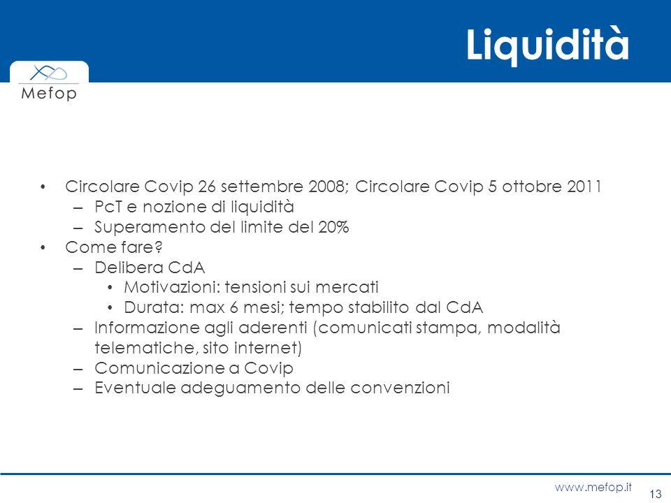 Liquidità Circolare Covip 26 settembre 2008; Circolare Covip 5 ottobre 2011. PcT e nozione di liquidità.