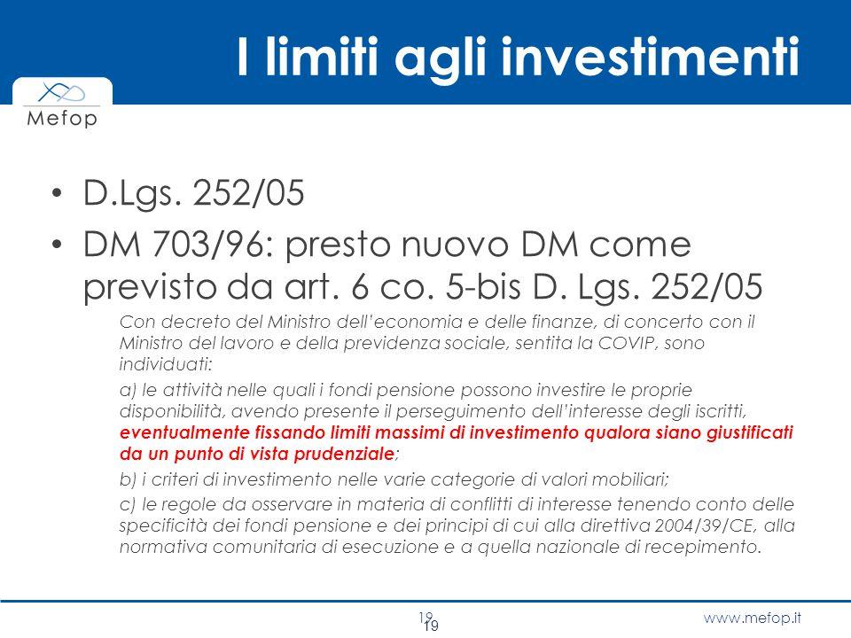 I limiti agli investimenti