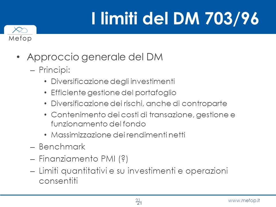 I limiti del DM 703/96 Approccio generale del DM Principi: Benchmark