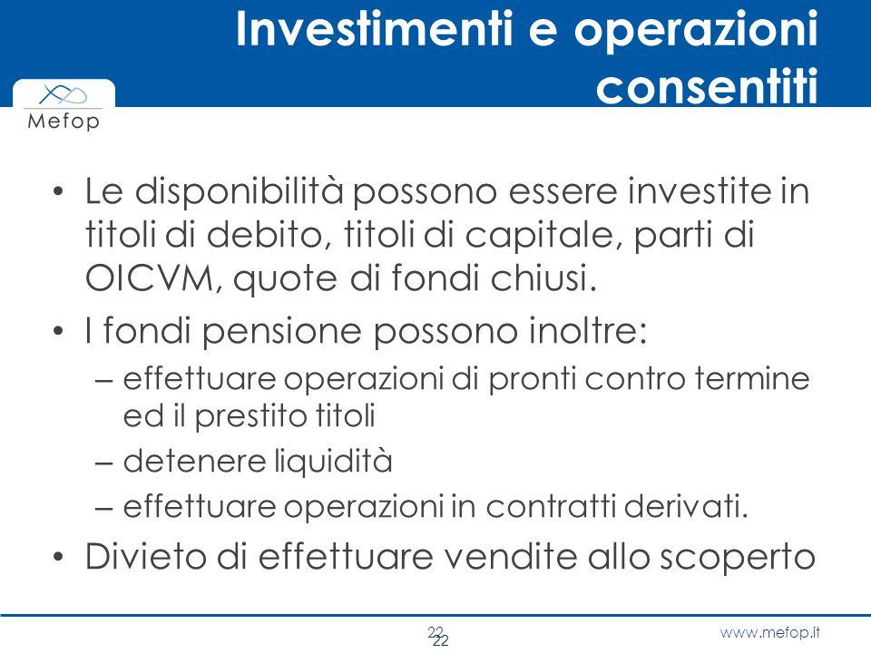 Investimenti e operazioni consentiti