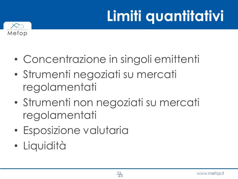 Limiti quantitativi Concentrazione in singoli emittenti