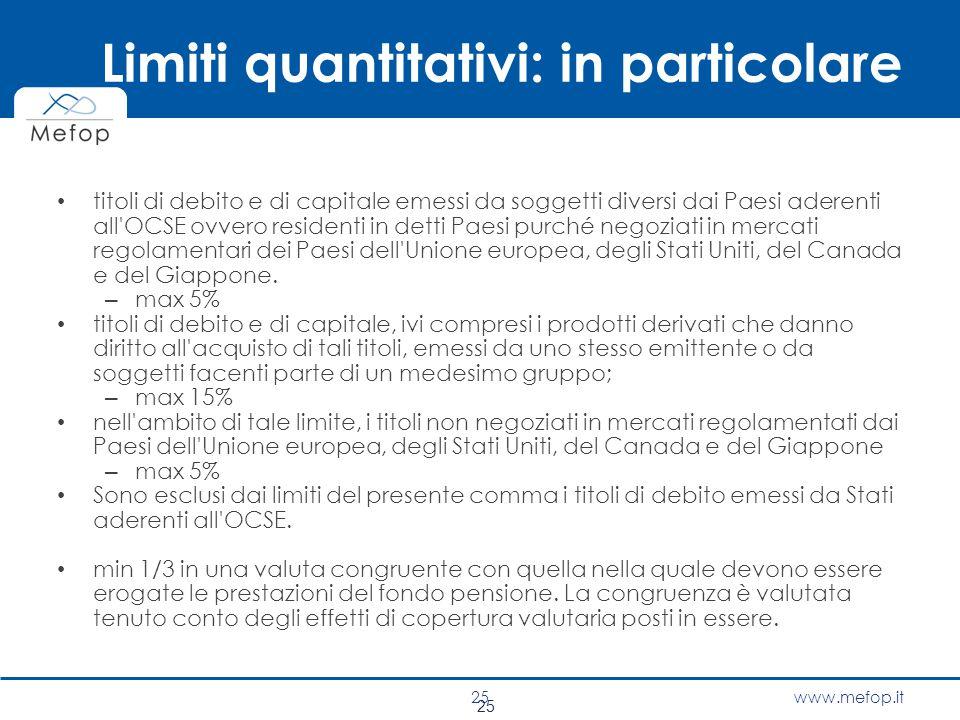 Limiti quantitativi: in particolare