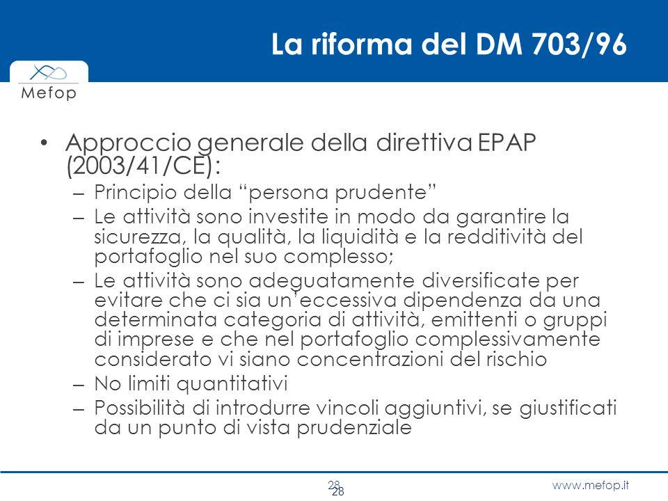 La riforma del DM 703/96 Approccio generale della direttiva EPAP (2003/41/CE): Principio della persona prudente