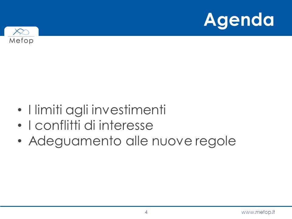 Agenda I limiti agli investimenti I conflitti di interesse