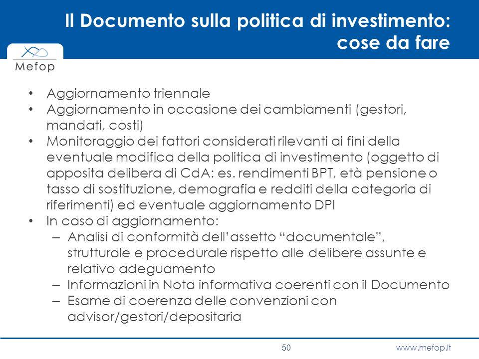 Il Documento sulla politica di investimento: cose da fare
