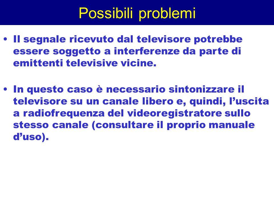Possibili problemi Il segnale ricevuto dal televisore potrebbe essere soggetto a interferenze da parte di emittenti televisive vicine.