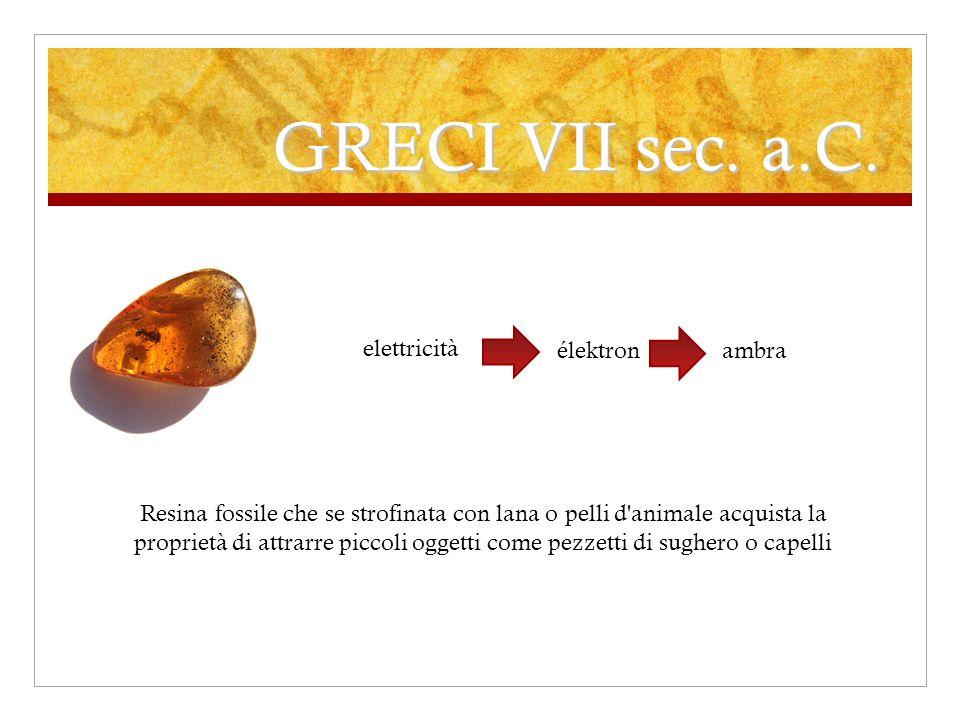 GRECI VII sec. a.C. elettricità élektron ambra