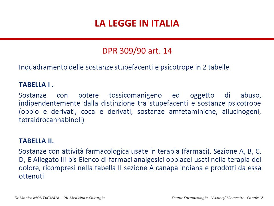La Legge in Italia DPR 309/90 art. 14