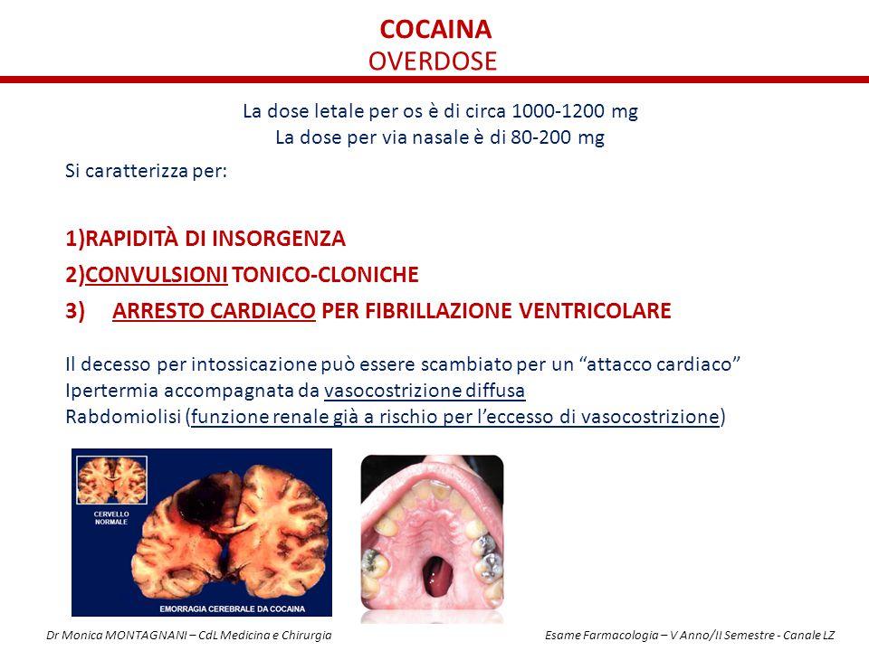 cocaina OVERDOSE RAPIDITÀ DI INSORGENZA CONVULSIONI TONICO-CLONICHE