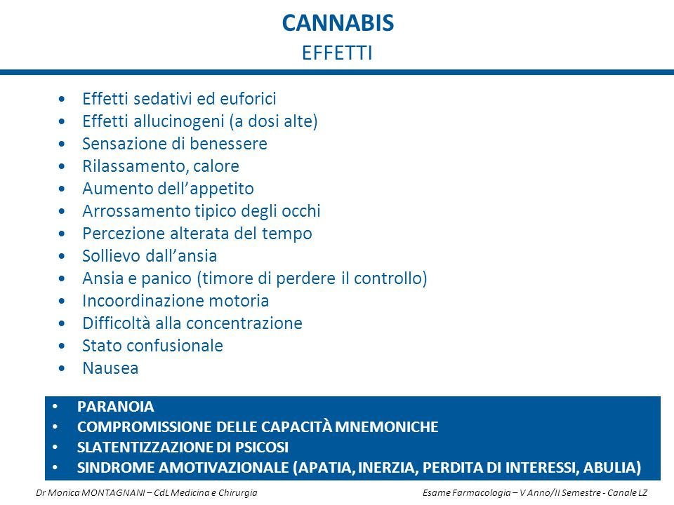 cannabis EFFETTI Effetti sedativi ed euforici