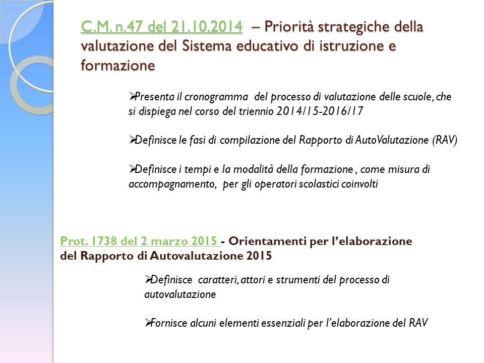 C.M. n.47 del 21.10.2014 – Priorità strategiche della valutazione del Sistema educativo di istruzione e formazione
