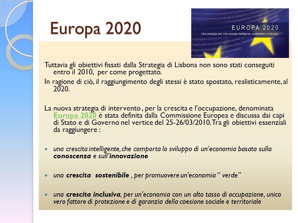 Europa 2020 Tuttavia gli obiettivi fissati dalla Strategia di Lisbona non sono stati conseguiti entro il 2010, per come progettato.